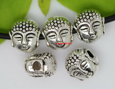 50pcs Sinicism Tibet Silver buddha head Jewelry Finding Charm Spacer Beads 8x7mm