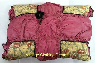 Antique 20s 1920s Pillow Boudoir Pink Gatsby Art Deco Pillow Gold Trim Flower