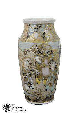 Antique Japanese Satsuma Enameled Ceramic Vase 6 in Tall Gold Yellow Blue Glaze