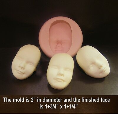 Silicone Fairy,Elf,face push mold for fimo sculpey polymer clay