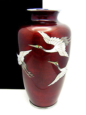 "Beautiful Japanese Ginbari Enamel 7"" Vase Flying Cranes"