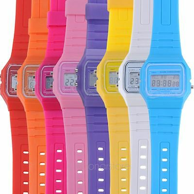 Unisex LED Digital Touch Screen Jelly Plastic Day Date Alarm Watch Wristwatch