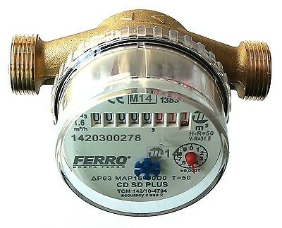 Water meter for House & Garden various connectors 2.5m3/h 16bar Antimagnetic