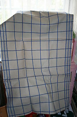 Vintage Dish Towel Cream with Blue Stripes Linen????  Never Used