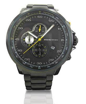 Renault Genuine Black Stainless Steel Analog Wrist Watch With RS Case Black Face