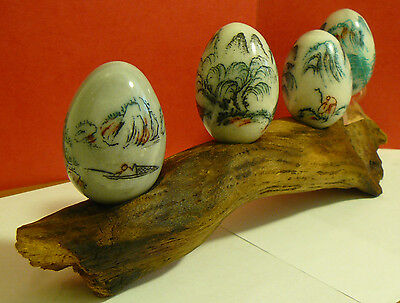 Asian Oriental Etched Marble Eggs Art Scenes, Vintage Stone Engraved Carving