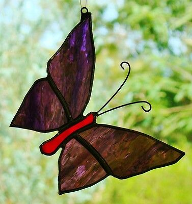 VIOLET PURPLE STAINED GLASS BUTTERFLY Silver suncatcher LEADLIGHT WEDDING GIFTS