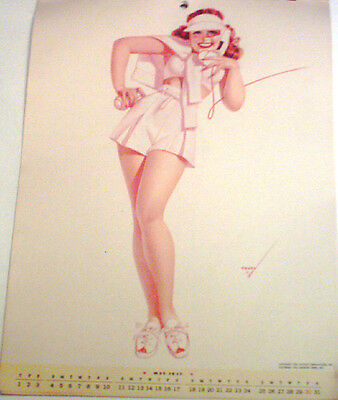 VINTAGE PETTY MAY 1947  PIN UP CALENDAR PAGE/ EXCELLENT COND/ PINK TENNIS OUTFIT