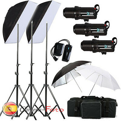 3*300 Flash de Estudio Kit Iluminación Estroboscopio FÜR canon nikon LED display
