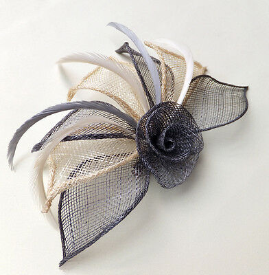 Hessian Net Rose & Feather Fascinator On A Forked Clip & Brooch Pin Six Colours
