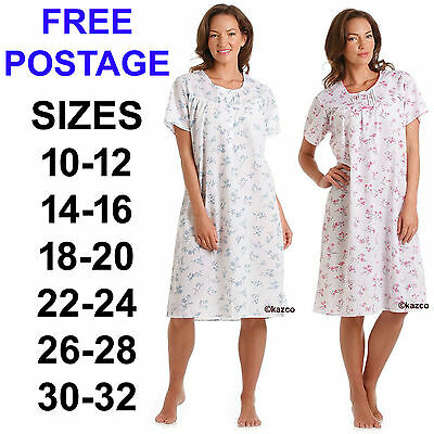 Nightdress Ladies Floral Short Sleeved Poly Cotton Womens Nightwear Size 10 - 32