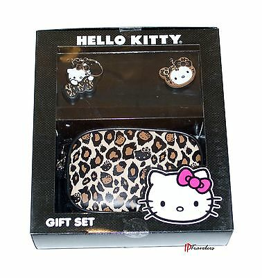 Hello Kitty Boxed Gift Set Animal Print Zippered Purse with Two Keychains $40