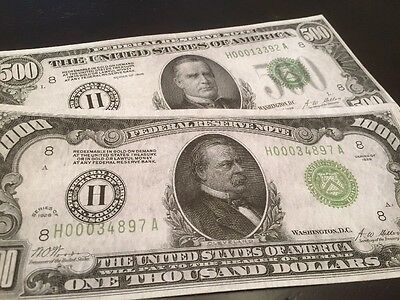 Reproduction Copy Pair 1928 $1000 & $500 Bills Federal Reserve Notes St. Louis