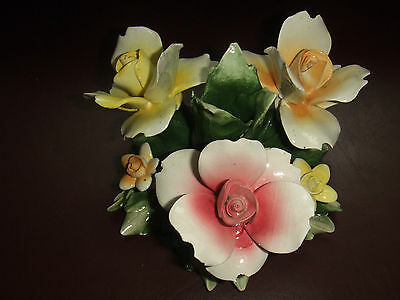 CAPODIMONTE PORCELAIN FLOWER CANDLE HOLDER