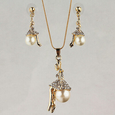 14k Yellow Gold Filled Pearl Girl Austrian Crystal Necklace Earring Set GP2687