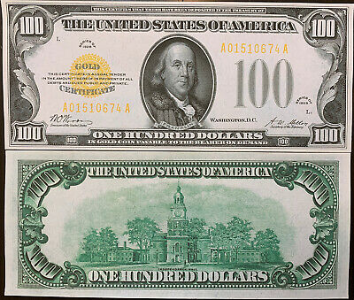 Reproduction $100 Bill Gold Certificate One Hundred Ben Franklin Gold 1928