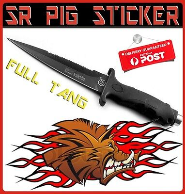 Pig Sticker Hunting Knife Sheath Full Tang Bowie Combat Survival Rambo Black Sr