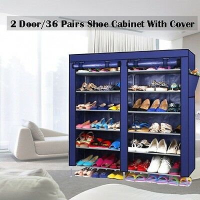 2 Doors with Cover Portable Storage Shoe Rack Cabinet Holder Wardrobe Organiser