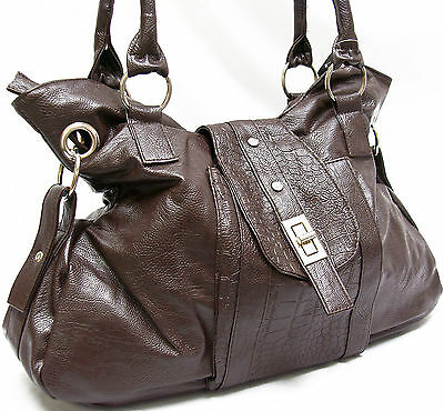 Brown Faux Leather Large Purse Shoulder Tote Handbag B. Lush Satchel Buckle new