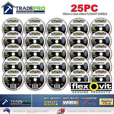 25x Metal Cut Off Wheel 100mm x16 1mm Flexovit® PRO Angle Grinder Cutting Discs