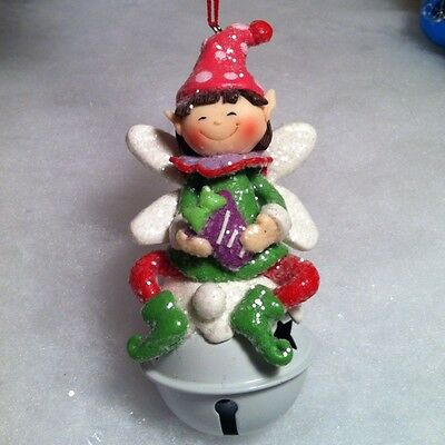 Pixie fairy /elf on jingle bell christmas bell ornament