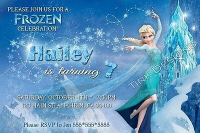 Frozen Elsa snow Birthday party invitations favor personalized customized custom