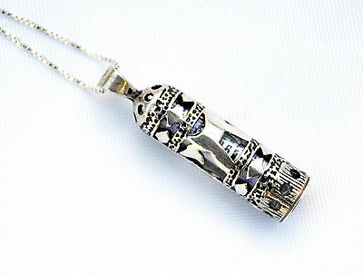 Sterling Silver 925 Mezuzah Pendant & necklace.W-Life Chai Judaica Made israel