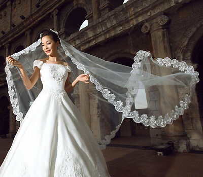 3M 1 Layer Cathedral Wedding Bride Lace Floor Long Veil Wedding Accessories