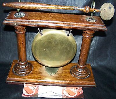 ANTIQUE ENGLISH OAK & BRASS DINNER GONG circa 1890/1900 COUNTER SZ