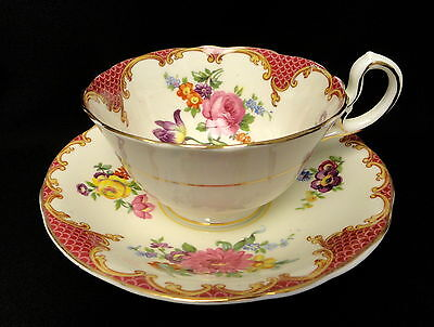 Vintage Aynsley Floral Bouquet & Rose PINK Border Tea Cup and Saucer