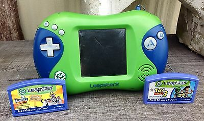Leapfrog Leapster 2 Blue Green Handheld Game Console + Penguins + Toy Story LOT