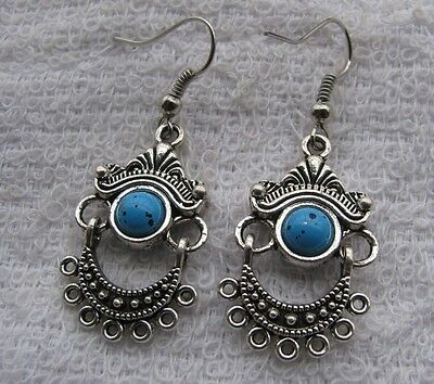 2pair  NATURAL BLUE, TURQUOISE THAILAND SILVER  EARRING