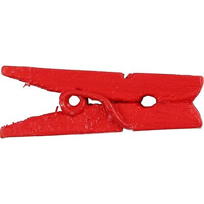 Mini Clothes Pegs Red x 20 - Painted Wood - Craft Home Decoration Display - 25mm