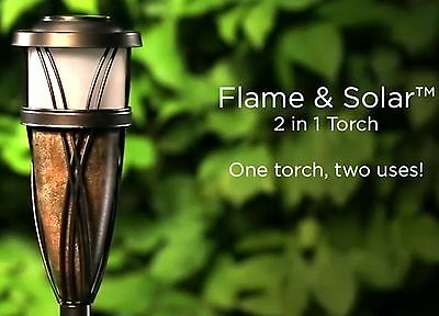 Combo Real Flame -Solar LED Outdoor Back Yard Garden Patio Tiki Torch FAST SHIP!