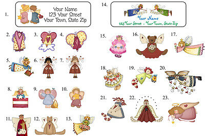 30 Personalized ANGEL ADDRESS LABELS - Buy ANY 5, Get 6th FREE - Angel Designs