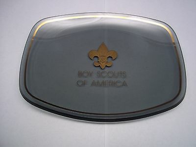 Boy Scouts of America Ashtray Very Thick Smoked Glass