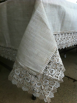 Natural Vintage Linen and Lace Tablecloth - 150 x 230cm 6-8 seat