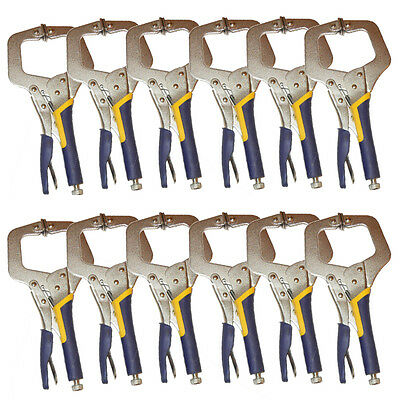 "12x HEAVY DUTY 6"" C CLAMP, High Strengtht Large Open, Quality Locking Weld Plier"
