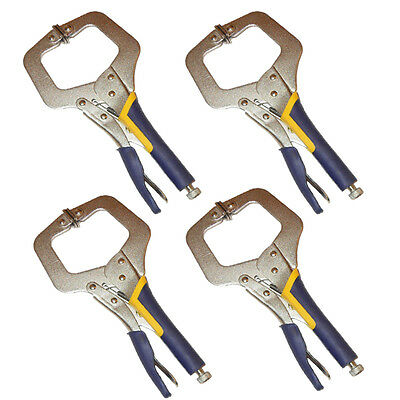 "4PC HEAVY DUTY 11"" C CLAMP, Extra Thick Large Opening Quality Locking Plier Vice"