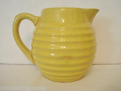 "Early Bauer Pottery Ring Ware 1 1/2 Pint Creamer Pitcher 5"" Yellow Ringware"