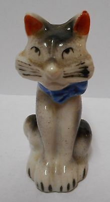 vtg ART DECO CAT WITH BLUE BOW FIGURE~ STYLIZED ODD FACE