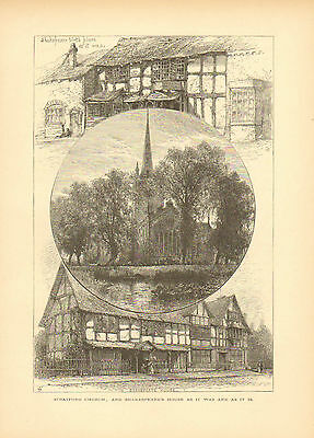 England, Shakespeare's House, Stratford Church, Vintage,1875 Antique Art, Print.