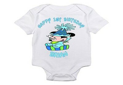 HAPPY 1ST BIRTHDAY BABY MICKEY MOUSE T SHIRT ONESIE PERSONALIZED ANY NAME OR #