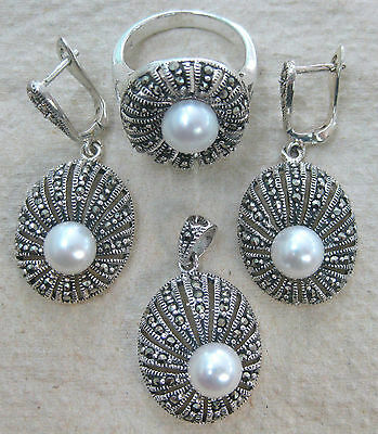 """925 STERLING SILVER """"PEARL & Marcasite"""" Art Deco """"Antique"""" Earring Pendant Ring"""