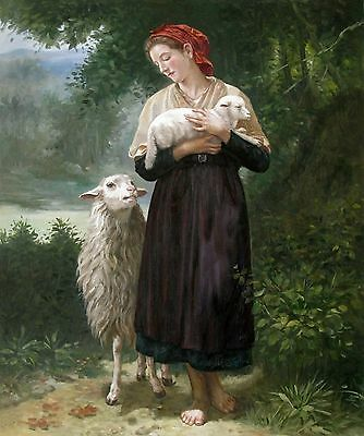 Bouguereau, the Shepherdess Repro. Quality Hand Painted Oil Painting 20x24in