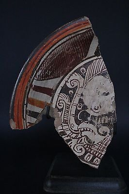Mayan Painted Plate Fragment 600 - 800 A.d.