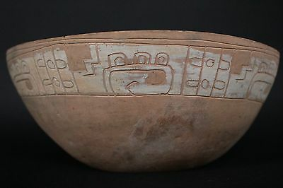Mayan Flesh Color Pottery Fragment With Glyphs 600 - 800 A.d.