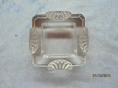 """Lalique Art Deco Cigar Ash Tray """"corfou"""" Square Crystal Signed"""