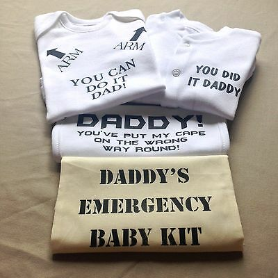Personalised Baby Vest Body Romper Funny Humorous Dad Birth Gift Birthday Set
