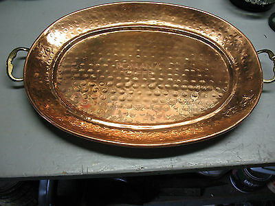 ROMANA CAFFE   COPPER  SERVING  TRAY w/ HANDLES  16 X 12 '' HAMMERED  2.5 LBS